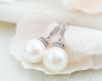 Round Pearl Bridal Dangle Earrings - White Pearl Crystal Drop Earrings - Pearl Wedding Jewelry - Bridesmaid Pearl Earrings - CZ Pearl E4035