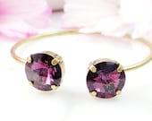 SWAROVSKI AMETHYST BRACELET, Antique Bronze Purple Crystal Cuff, Sparkly Lilac Rhinestone Bangle, Lavender Art Deco Artisan Jewelry B5013