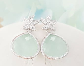 Starfish Earrings, Mint CZ Teardrop Earrings, Seafoam Green Beach Wedding Earrings, Pale Powder Green Bridesmaid Gift, Starfish Studs, E2158
