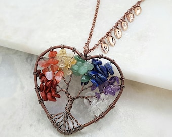Family Tree Necklace Initial - Rainbow Necklace Gemstone - Personalized Grandmother - Mother Jewelry Grandma - Sentimental Gift Mom N9401