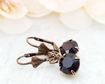 Black Crystal Earrings - Swarovski Black Earrings - Round Black Dangle Earrings - Black Rhinestone Jewelry - Jet Black Earrings Drop E3978