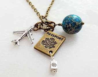 Travel Jewelry Necklace Silver Airplane Passport Charm and Crystal Birthstone World Traveler Flight Attendant and Pilot Jewelry