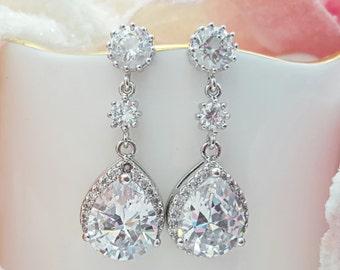 Wedding Earrings, CZ Dangle Earrings, Cubic Zirconia Teardrop, Bridal Earrings, Engagement Gift, Anniversary Earrings, Girlfriend, E2023