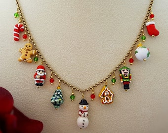 Christmas Necklace - Holiday Jewelry - Christmas Charm Necklace - Christmas Gift For Her - Snowman Necklace - Candy Cane Necklace N5100