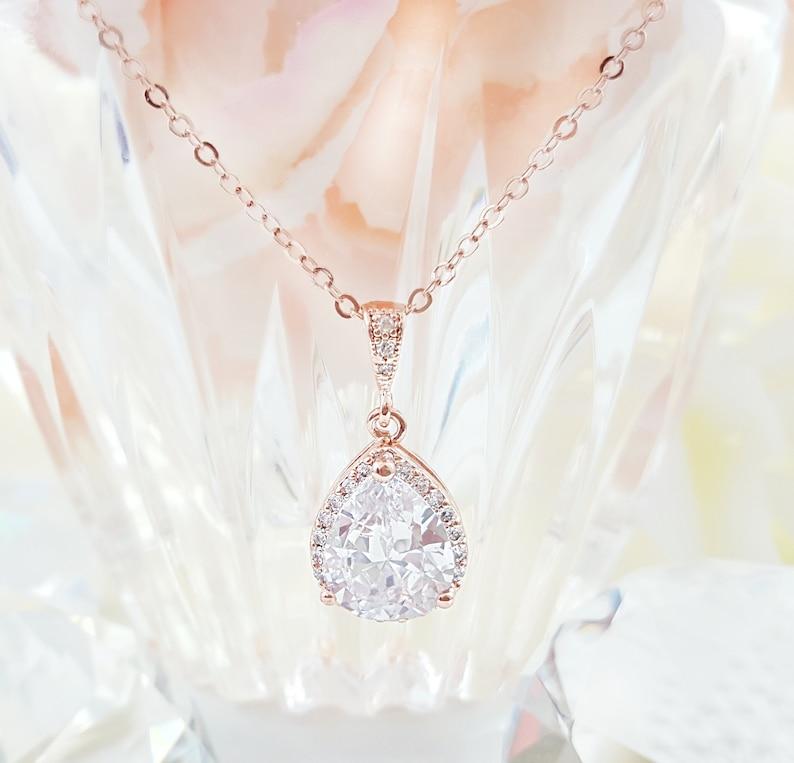 Rose Gold Teardrop Necklace Cubic Zirconia Crystal Tear Drop Etsy