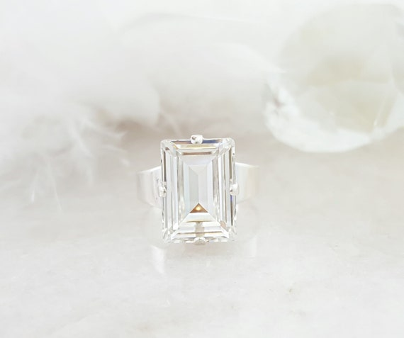 067ba51248cc8 Big Crystal Ring Clear, Rectangle Swarovski Crystal Ring, Clear Stone Ring,  Silver, Gold or Rose Gold, Emerald Cut Statement Ring R4019