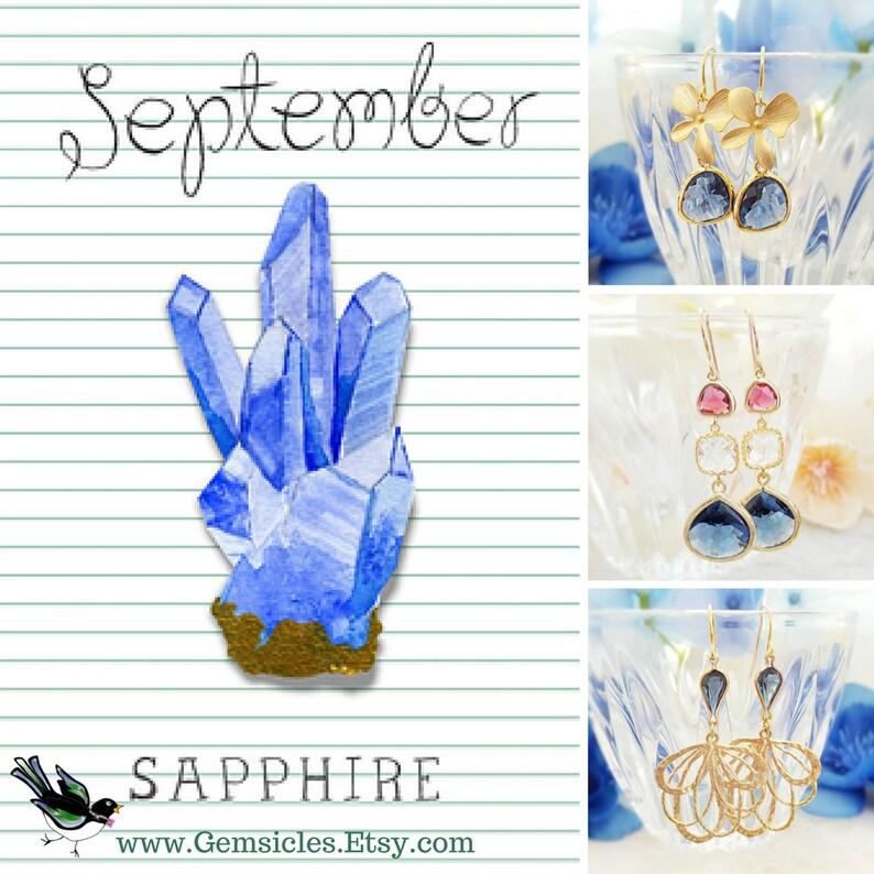 Navy Tear Drop Necklace SAPPHIRE TEARDROP NECKLACE Blue Birthstone Jewelry N2827 Rose Gold Blue Cubic Zirconia Tear Drop Crystal Pendant
