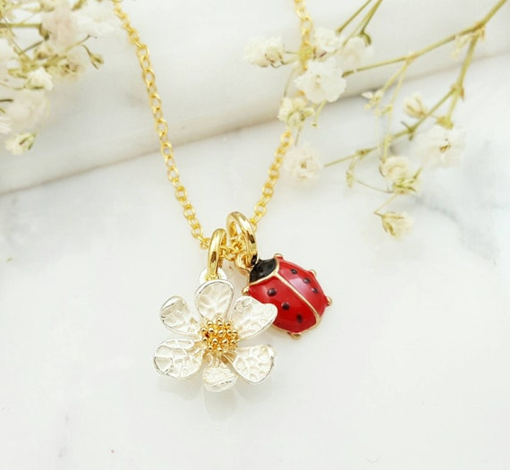choice of chains ladybird necklace small ladybird necklace 12 inch- personalized with initial charm LADYBUG NECKLACE