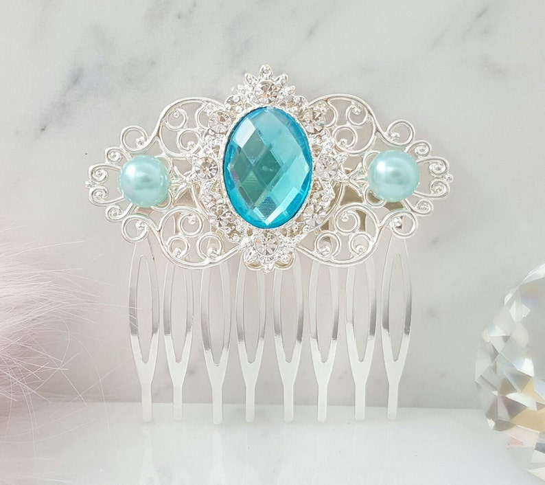 Victorian Accessories for Bridal Party H2109 Aquamarine Hair Comb Silver Hair Piece for Bridesmaids Turquoise Blue Pearls /& Aqua Crystal
