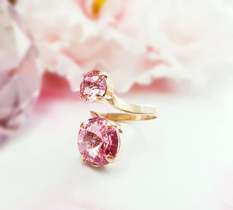 45960730095d0 Pink Crystal Rose Gold Spiral Rings for Women, Twist Ring Wrapping, Sparkly  Swarovski Rhinestone Snake Wrap, October Birthstone Gifts R4009