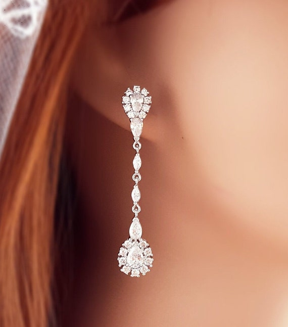 Wedding Bridal White Gold Filled CZ Dangle Earrings Necklace Set Jewelry Gift