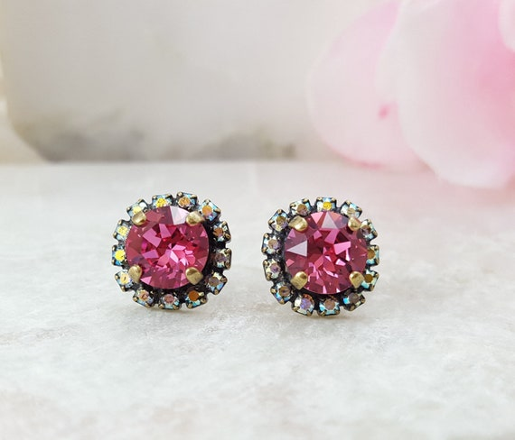 Pink Crystal Studs Rainbow Crystal Earrings Swarovski  734027e2c