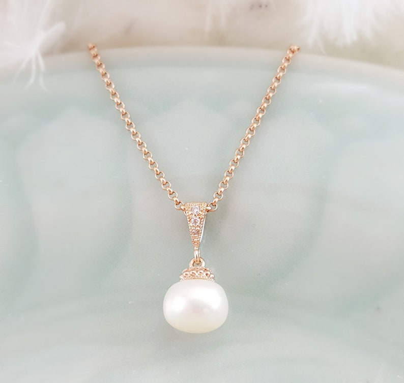 b581c77d2281c Simple Pearl Necklace on Rose Gold, Pearl Wedding Jewelry, Rose Gold Pearl  Necklace, Cubic Zirconia Bridal Necklace, Real Pearl N4203