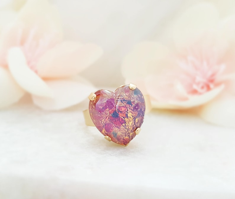 PINK HEART RINGS for Women Rose Gold Promise Ring Fire Opal image 0