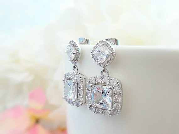 Square Bridal Earring Cz Cubic Zirconia Maid Of Honor Gift Etsy