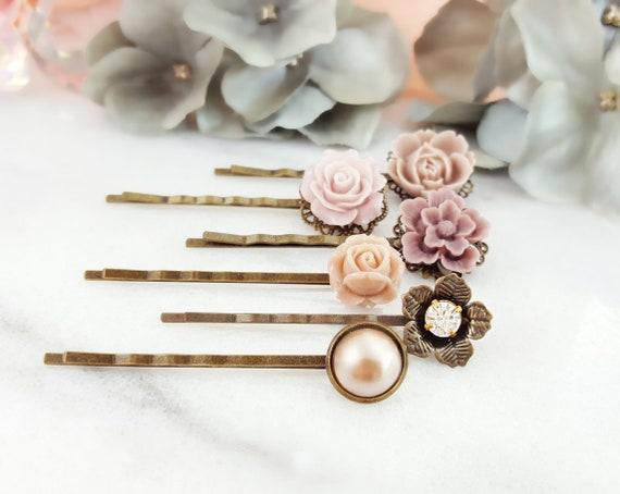 USA Bobby Pin Rhinestone Crystal Hair Clip Hairpin Wedding Bridal flower PINK