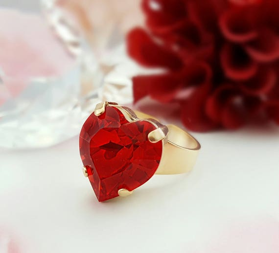Red Heart Ring Gold Swarovski Siam Crystal Jewelry Gifts for  bde5e79153