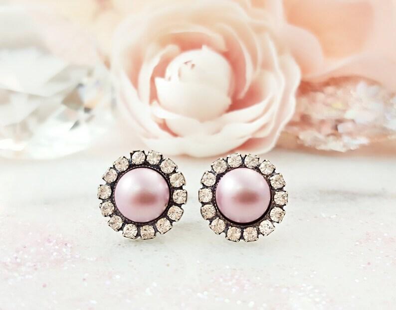 b82e4fb4b Pink Pearl Earrings Swarovski Dusty Pink Studs Clear Crystal | Etsy