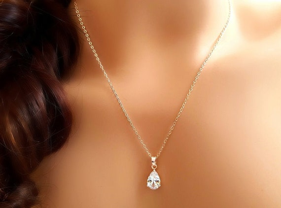 Rose Gold Teardrop Necklace Small Cubic Zirconia Crystal Tear Etsy
