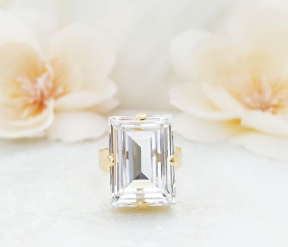 f7b36b7fe00d1 Big Crystal Ring Clear Rectangle, Swarovski Baguette Stone, Statement  Jewelry Gift for Her, Large Gold Emerald Cut Ring R3035