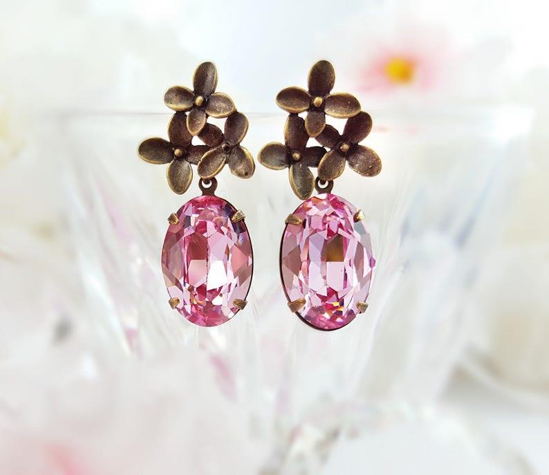 c0a76d0f2 Pink Tourmaline Earrings Swarovski Crystal Earrings Rose | Etsy