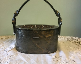 Vintage Gray Marblelized Lucite Purse/Lucite Purse with Carnival Beads on Top/Vintage Lucite Pocketbook with Twisted Handle