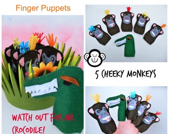 5 cheeky monkeys and Mr Crocodile finger puppets- Teacher resources- Song Puppets- Counting Game- Day Care- Busy bags