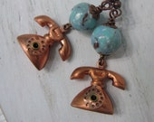Rotary Telephone Earrings, Vintage Assemblage Earrings, Upcycled Jewelry, Copper Turquoise Blue, Gift For Her, Gift For Mom, Gift Under 25
