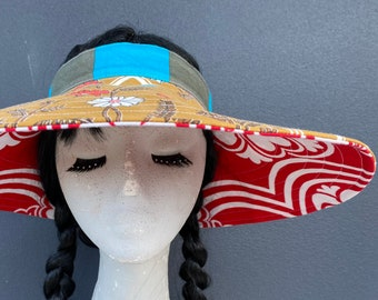 Reversible Open Crown Sunhat Wide Brim Visor Greens and Blues 60s Flower PowerBlues /& Brown Spots Pique; Large Handmade