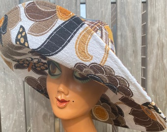 Size Small; Handmade Lime Groovy 70/'s Floral Paisley Reversible Ultrawide Brim Sun Hat: Lime 60/'s Flower Power Barkcloth Rust Orange