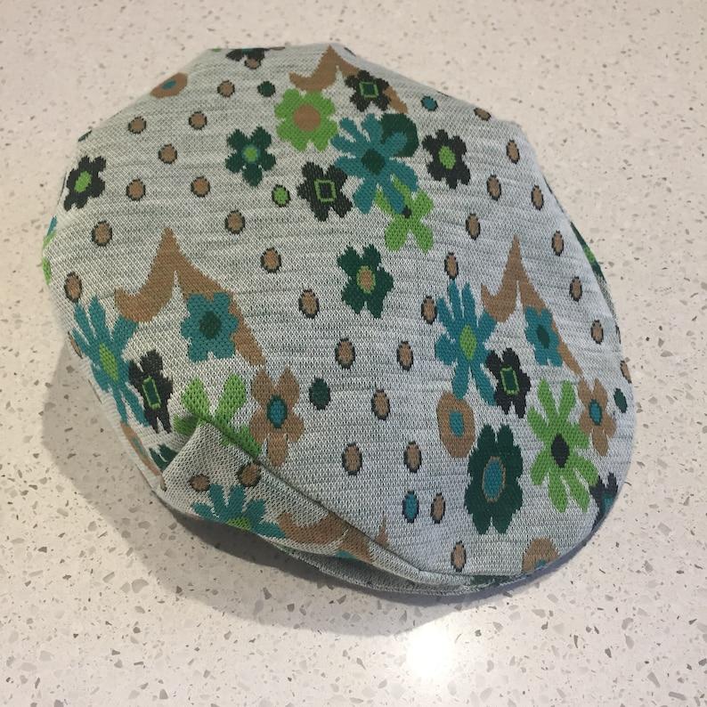 Heather Grey /& Greens Galore Flower Power Retro Daisy Double Knit Flat CapUnisex CapWinter Cap Teal; Size Medium