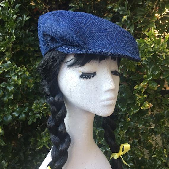 c4231c4b0efc5 Flat Cap/Unisex Cap: Vintage Indigo Textured Denim/Cream | Etsy