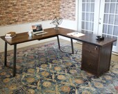 Arkwright Corner L-Shaped Desk with Filing Cabinet- Right Hand