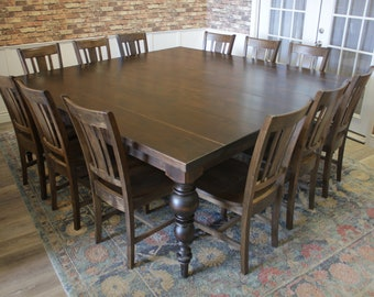 91c473c1f1e1 Turned Leg Square Dining Table For 12