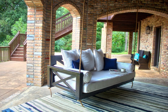 Finley Hardwood Daybed Porch Swing, Patio Bed Swing