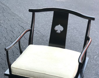 Vintage Century Furniture Asian Pagoda Chair   Black Lacquer   Raw Silk  Cushion