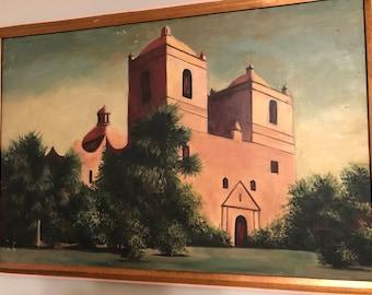 Beautiful vintage original oil painting - old mission