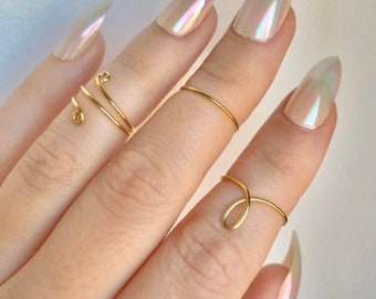 Set of 3 Gold Midi Rings Gold Ring Set gifts for her