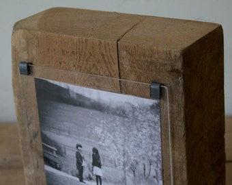 5th wedding anniversary - reclaimed wood photo frame - bespoke wedding gift - bridemaids gift  - sea groyne - hand made photo frame -