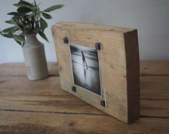 Surfing photo - surf decor - reclaimed wood photo frame - surfing gift  - one off  - handmade gift - gift for surfers - one of a kind -