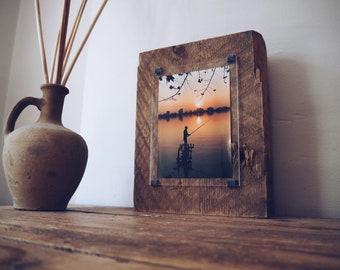 Custom made frame - Hand made photo frame - wabi sabi -Reclaimed wood photo frame - one of a kind photo frame - distressed wood frame