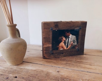 Gift for 5th anniversary - wood photo frame - 5th wedding anniversary gift   - hand made photo frame - one of a kind - bespoke gift -