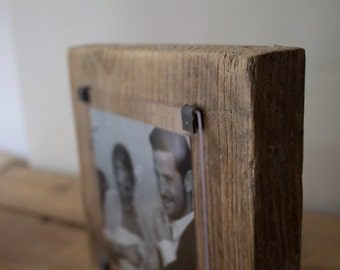 Wood anniversary gift - Wood photo frame - 5th wedding anniversary  - reclaimed wood photo frame - wedding anniversary wood - one of a kind