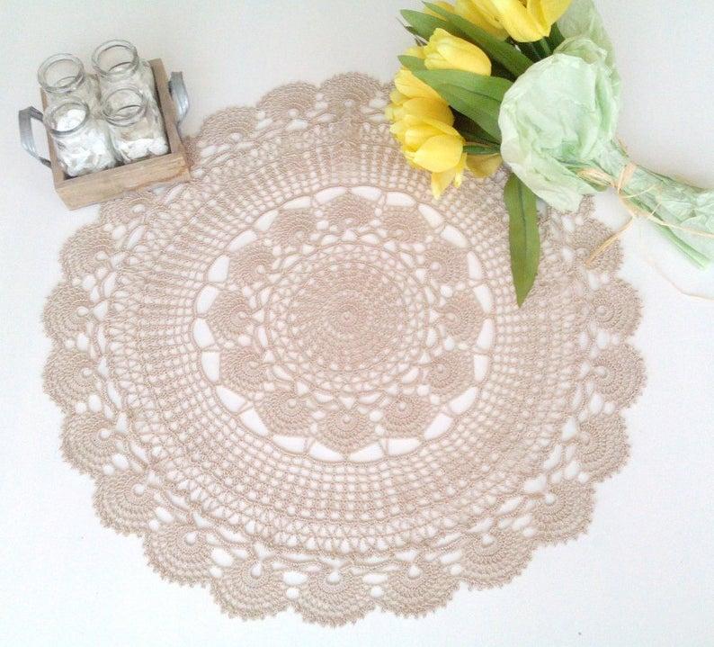 Model Urania 22 inch  or 56 cm Center  Piece Doily Table Decoration Beige Color Crochet Lace Doily