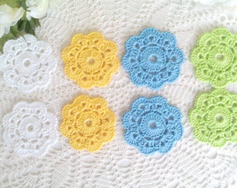 "8 Crochet Flower Coasters in Spring Colors - 3 1/4"" or 8 cm"