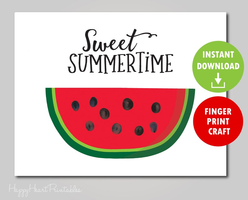 picture relating to Watermelon Printable named Fingerprint Watermelon Artwork - Watermelon Finger Print Printable Template - Fingerprint Summer season Artwork