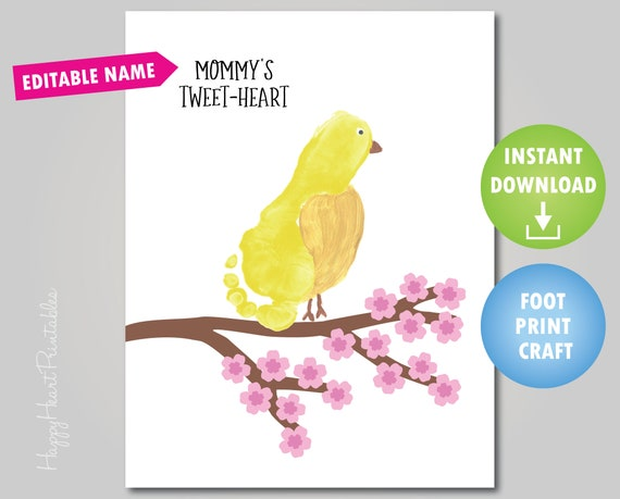 Footprint Bird Mother's Day Craft  Tweetheart