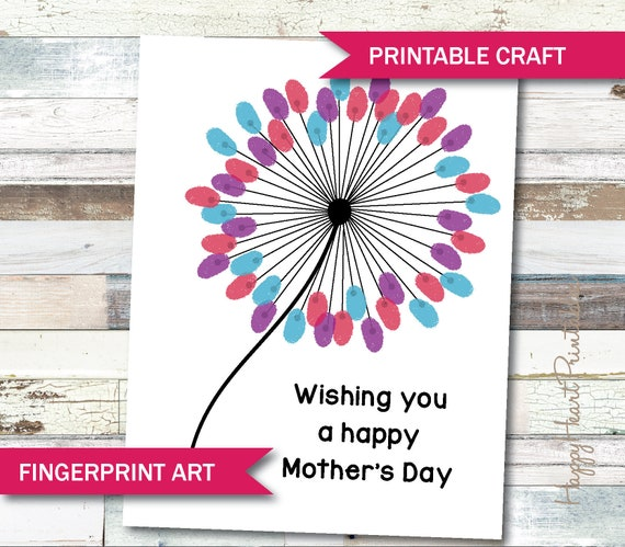 Mother's Day Fingerprint Art  Printable Template