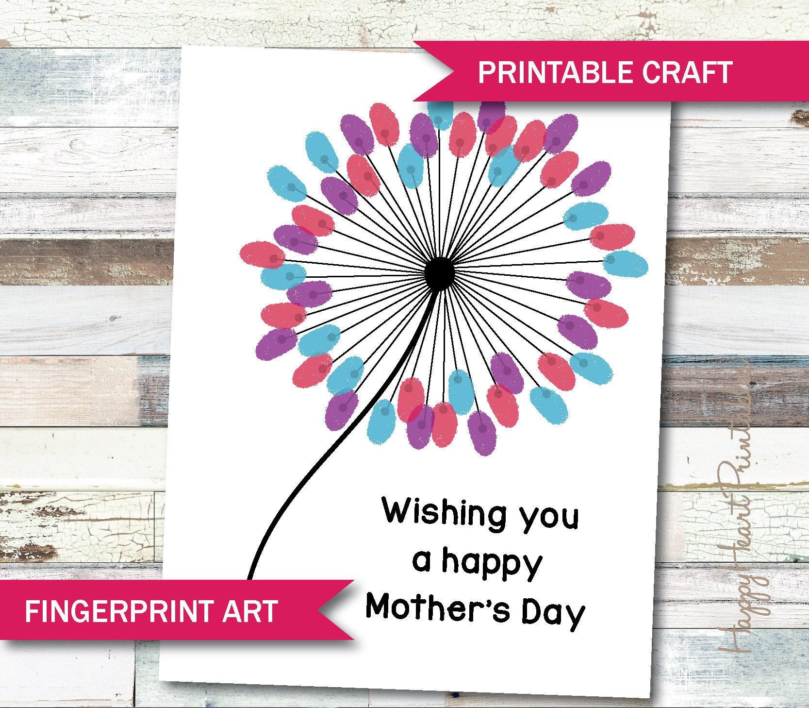Mothers Day Fingerprint Art Printable Template Etsy