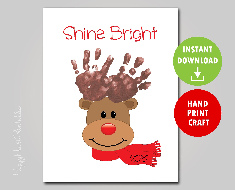 Handprint Reindeer Art Printable Template Handprint Christmas | Etsy